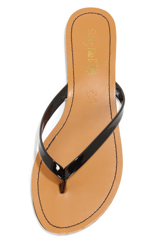 Intro 02 Black Patent Flip Flops at Lulus.com!