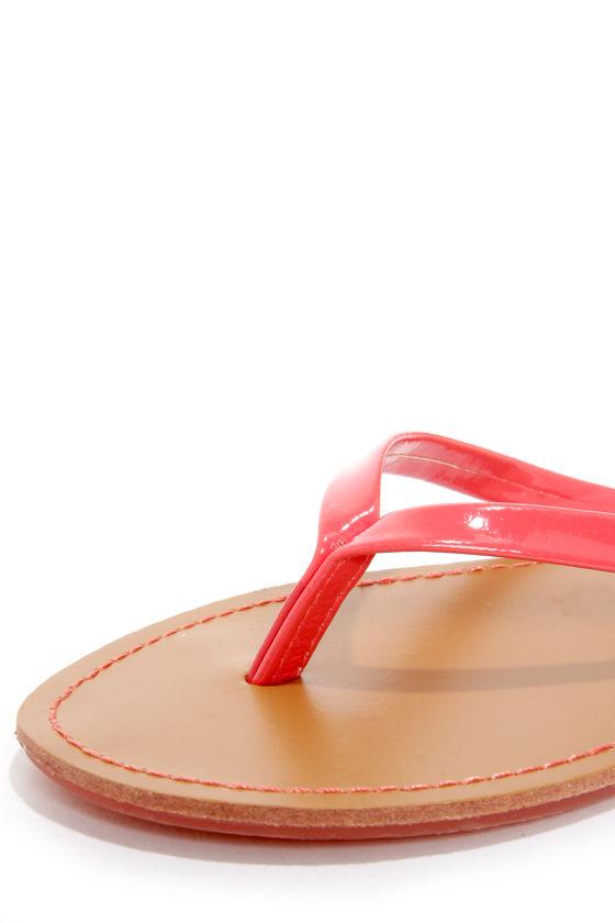 Intro 02 Coral Patent Flip Flops at Lulus.com!