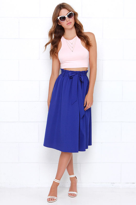Pretty Royal Blue Skirt - Midi Skirt - $49.00