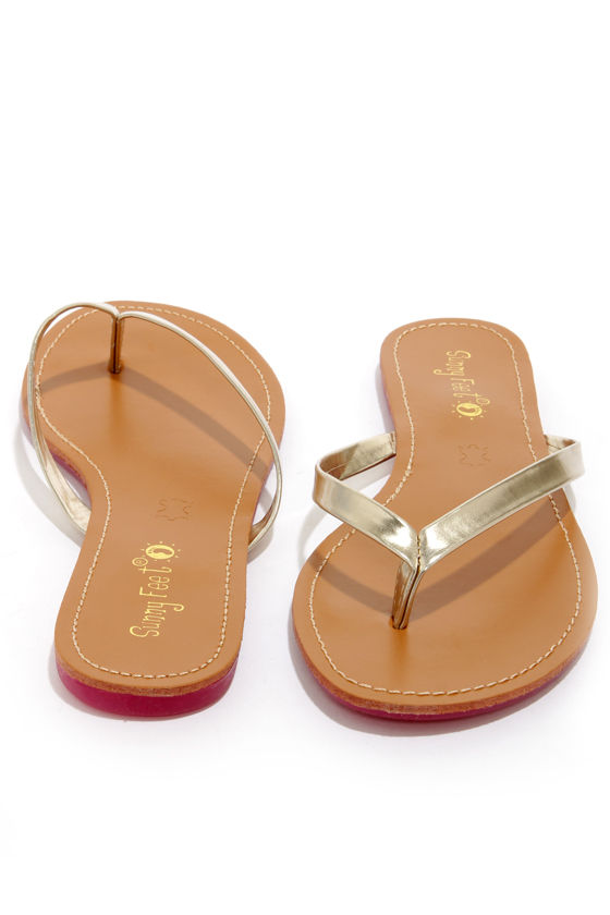 Intro 02 Gold Flip Flops at Lulus.com!