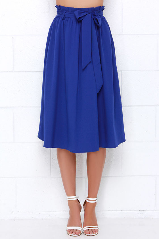 pretty royal blue skirt midi skirt 49 00