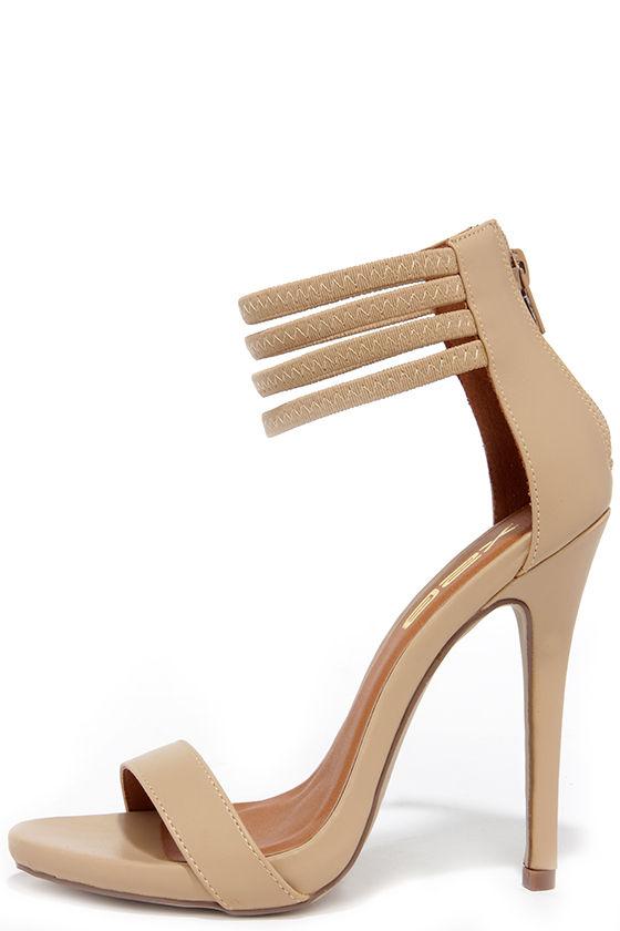 Cute Nude Heels - Ankle Strap Heels - High Heel Sandals - $32.00