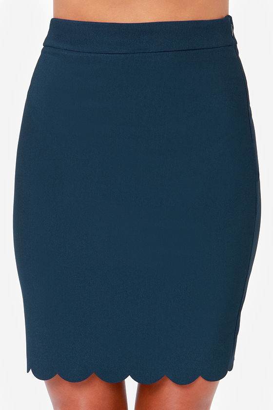 Break Into a Scallop Navy Blue Pencil Skirt at Lulus.com!