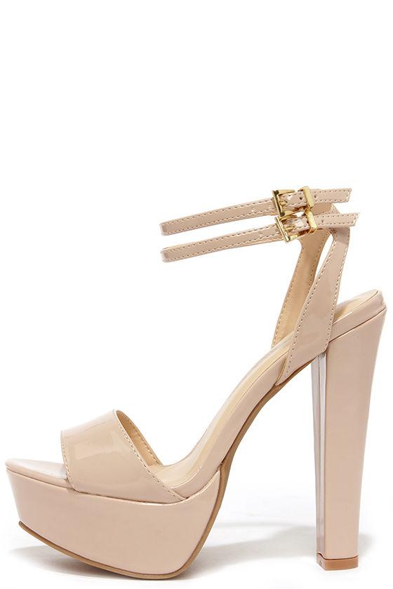 Cute Nude Heels - Platform Heels - Platform Sandals - $28.00