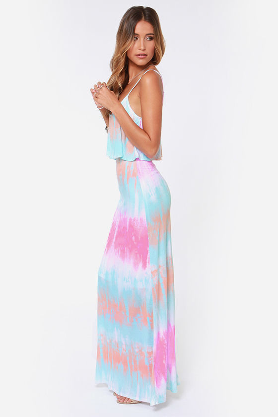 48fdde2b5d Cute Tie-Dye Dress - Maxi Dress - Blue Dress -  36.00