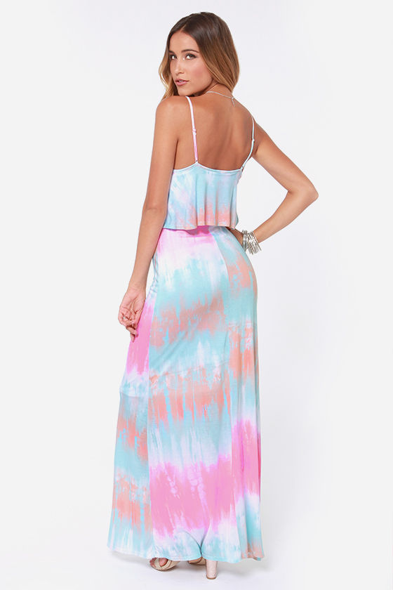 Cute Tie-Dye Dress - Maxi Dress - Blue Dress - $36.00