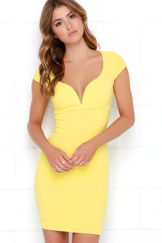 yellow dress  bodycon dress  midi dress  4400