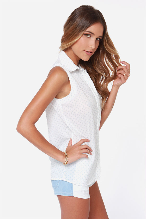 Rhythm Polka Daisy White Print Sleeveless Top at Lulus.com!