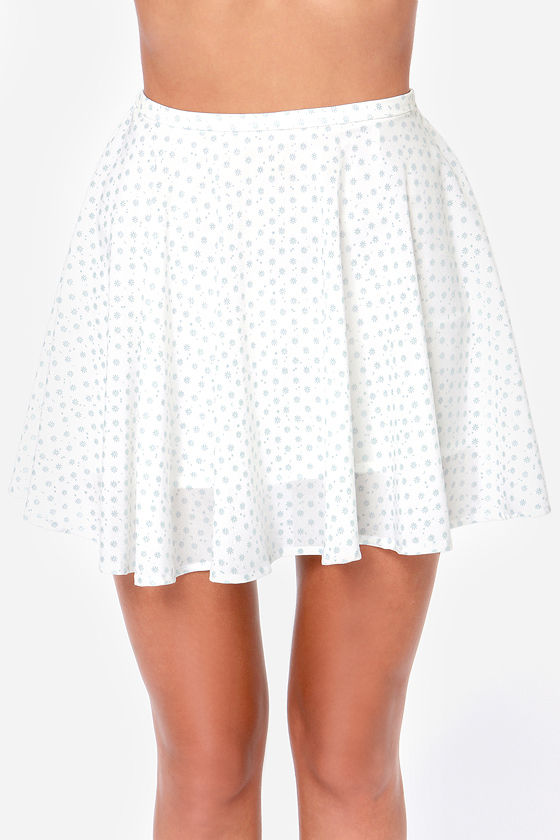 Rhythm Polka Daisy White Print Skater Skirt at Lulus.com!