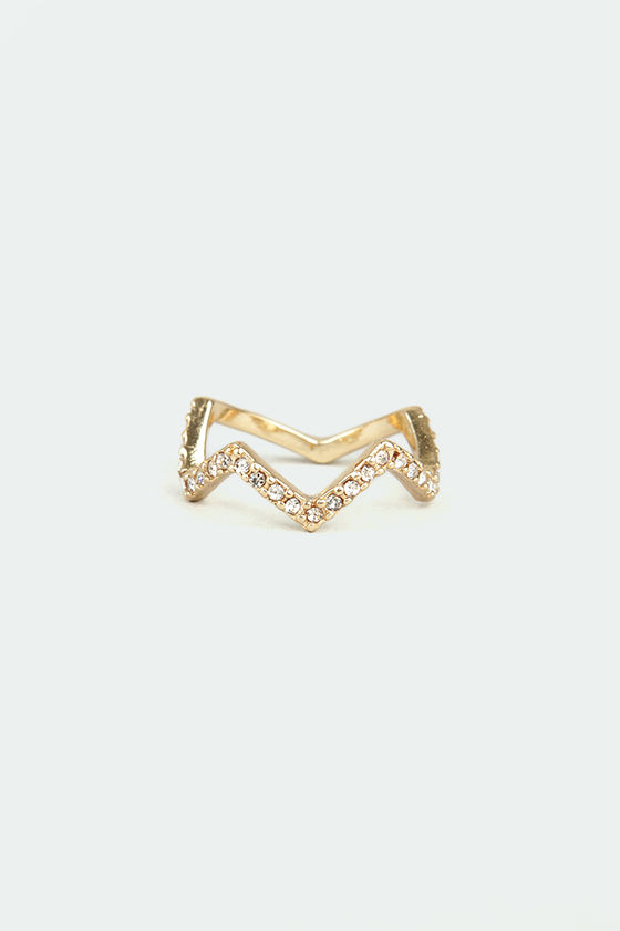 Crown Goes Wild Gold Rhinestone Ring at Lulus.com!