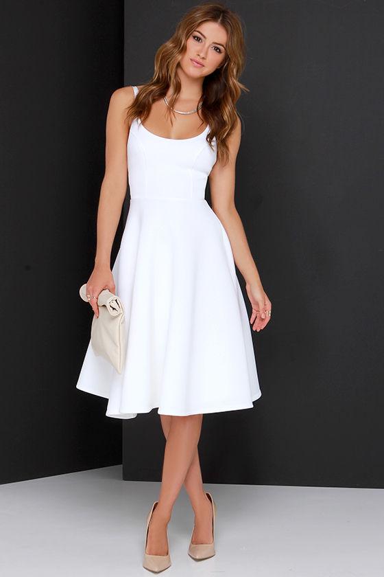 3005f3671bbf Chic Ivory Dress - Midi Dress - Fit-and-Flare Dress -  74.00