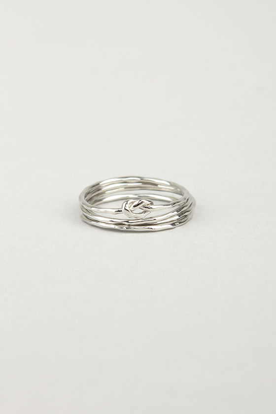 Knot for You Silver Ring Set at Lulus.com!