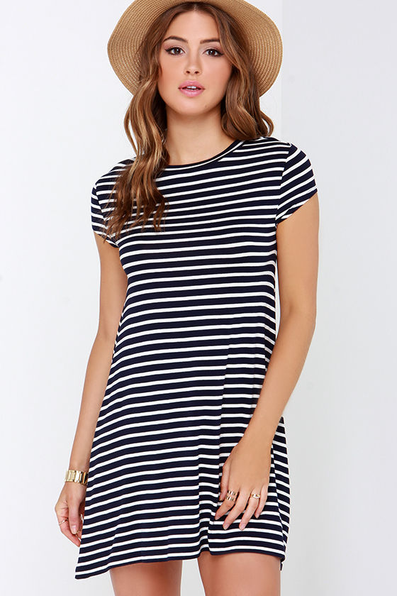 Billabong Last Minute Dress - Navy Blue Striped Dress - Shift ...