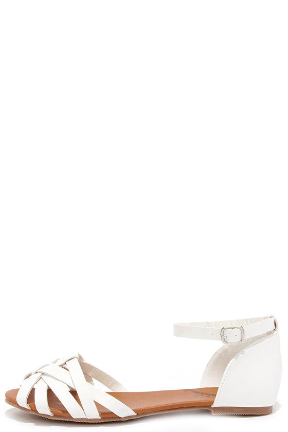 Cute White Flats - Flat Sandals - Ankle
