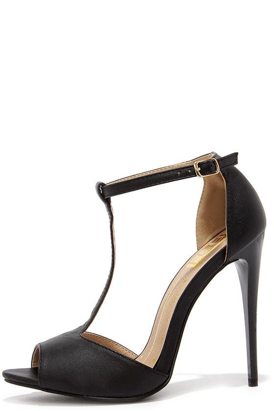 better exquisite style cute cheap Sexy Black Heels - T-Strap Heels - Peep Toe Heels - $28.00