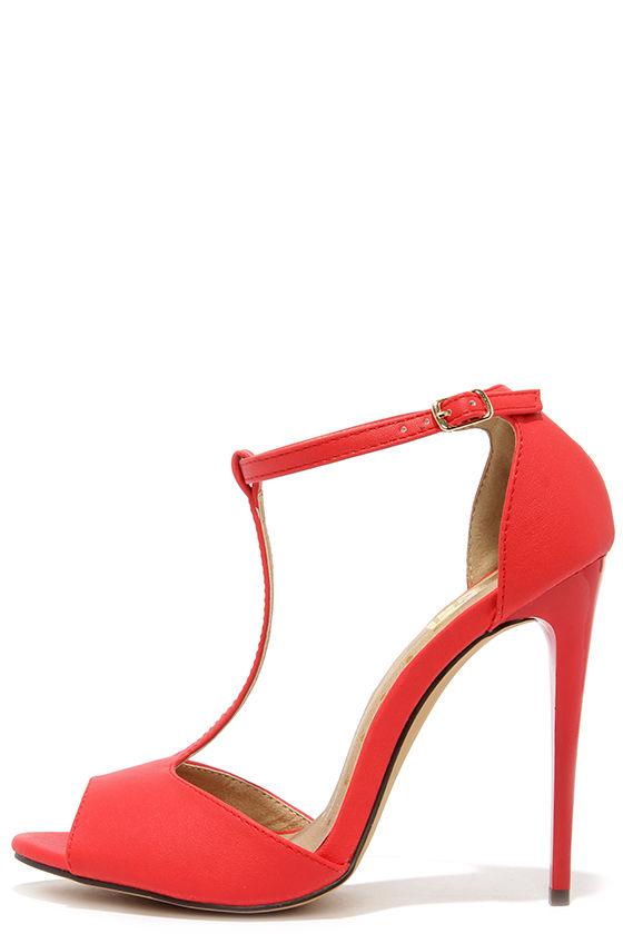 Sexy Red Heels - T-Strap Heels - Peep Toe Heels - $28.00