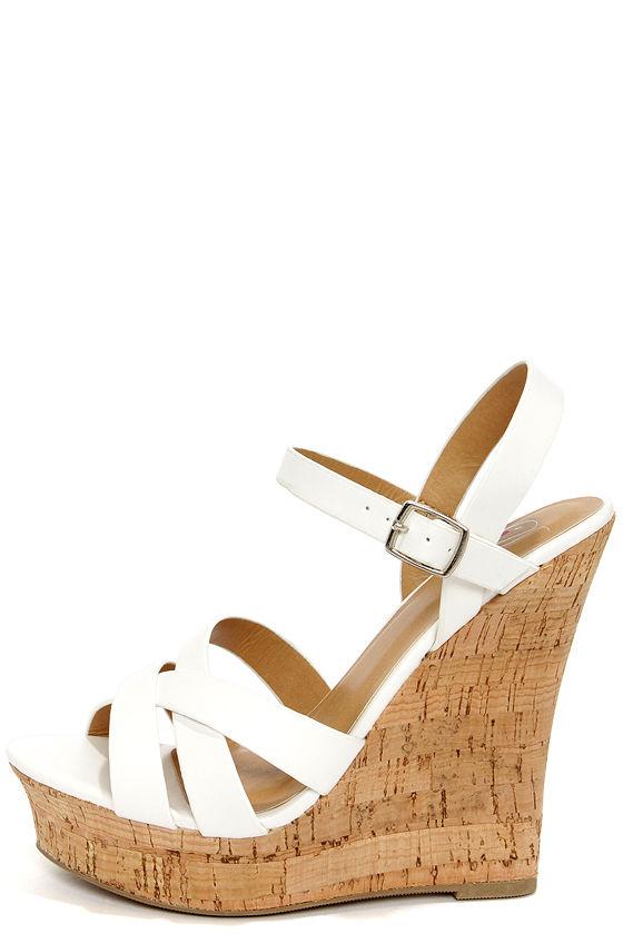 Cute White Heels - Peep Toe Heels - Wedge Sandals -  28.00 43ea0485af72