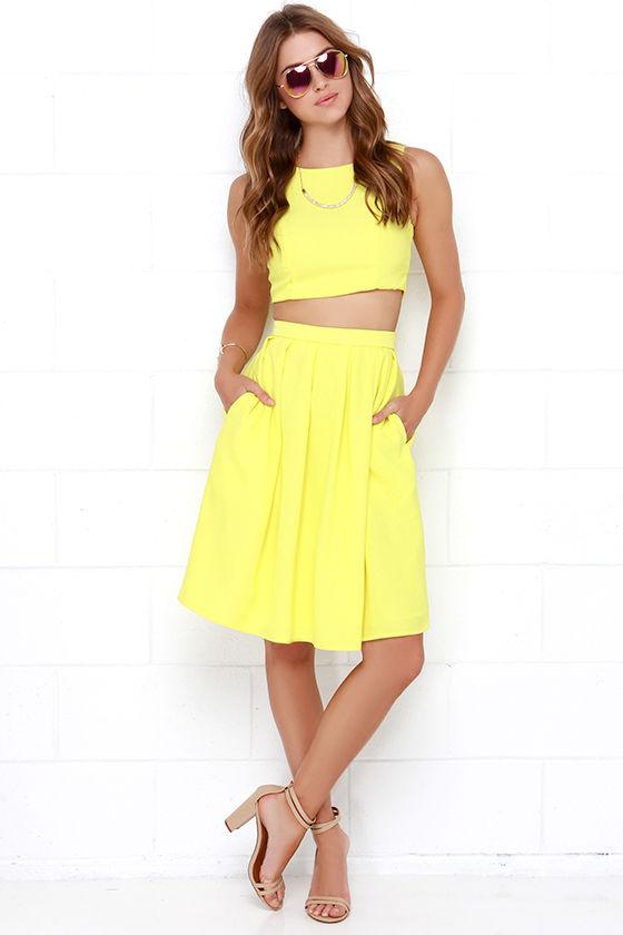 Yellow Two-Piece Dress - Pleated Dress - Yellow Matching Set - $84.00