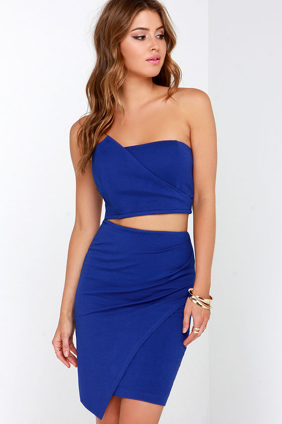 Stylish Royal Blue Dress - Strapless Dress - Two-Piece Dress - $58.00