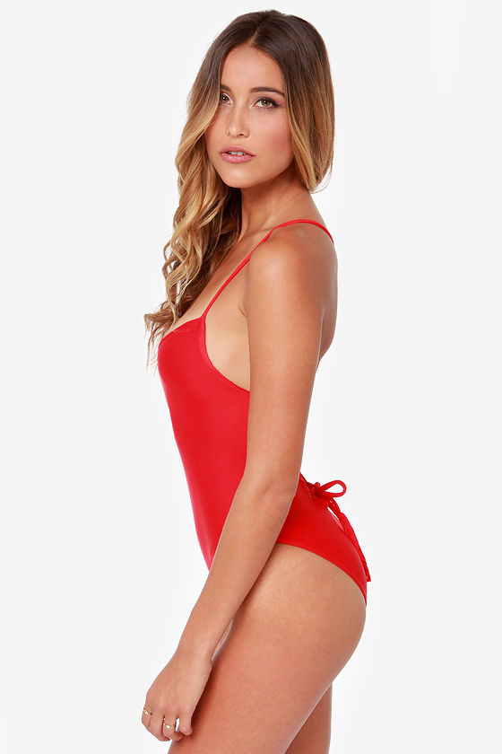 Mandalynn Nicole Lace-Up Red One Piece Swimsuit at Lulus.com!