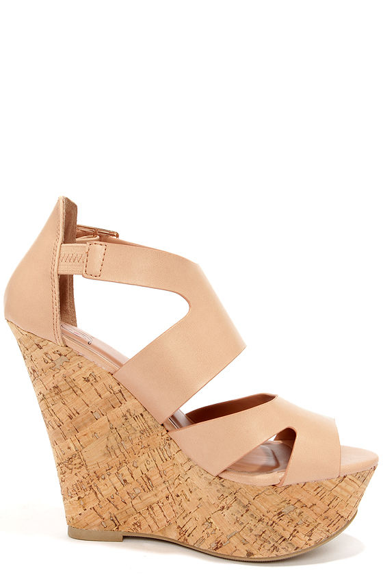 My Delicious Badge Natural Cutout Platform Wedge Sandals at Lulus.com!