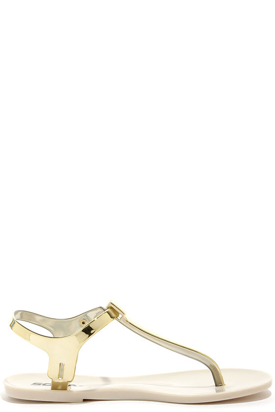 Soda Ian Gold Jelly Thong Sandals at Lulus.com!