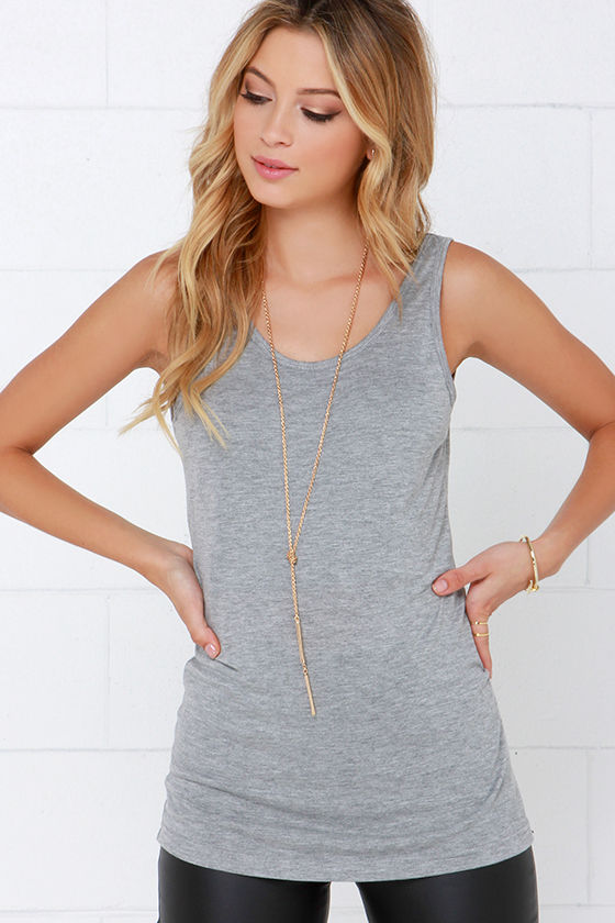 Rhythm My Scoop Grey Tank Top at Lulus.com!