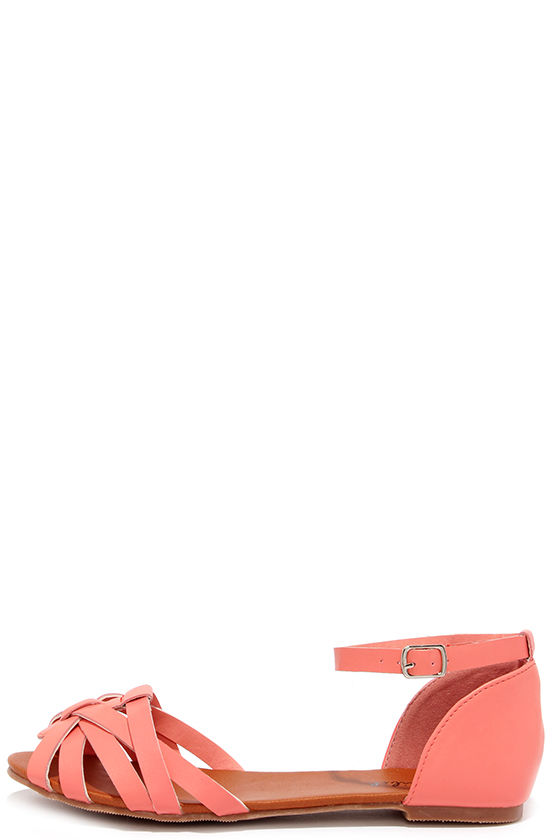 select for clearance undefeated x hot sales Teamwork Coral Flat Ankle Strap Sandals