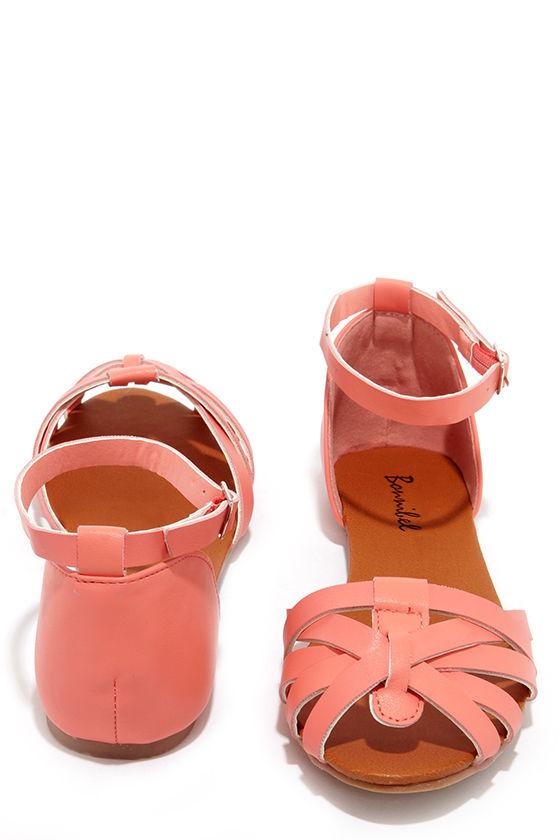 5ff320852 Cute Coral Flats - Flat Sandals - Ankle Strap Sandals -  19.00