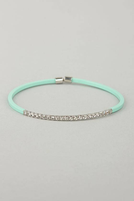 Teacher's Petite Mint Green Rhinestone Bracelet at Lulus.com!