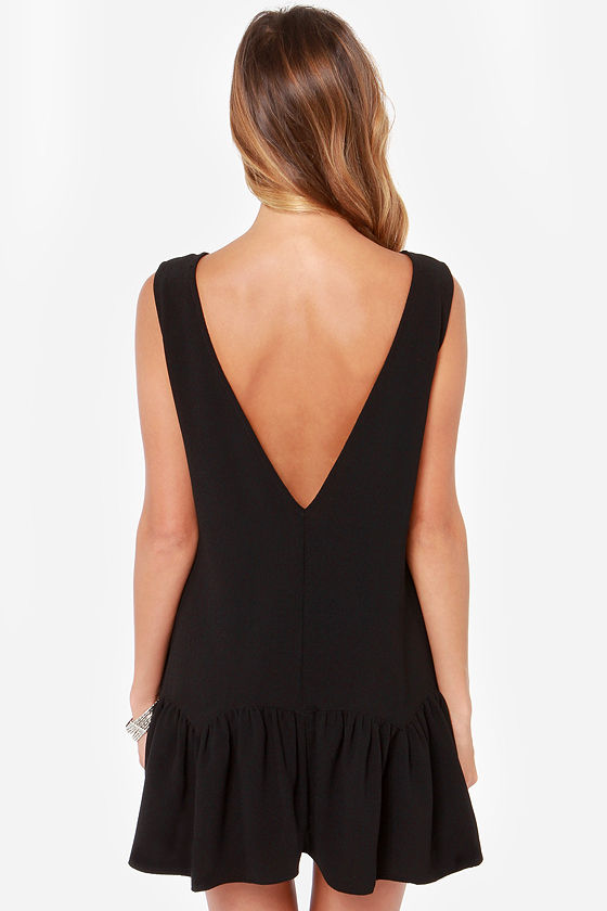 Breaking News Backless Black Dress at Lulus.com!