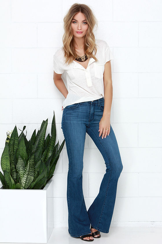 Flare Jeans - Medium Wash Jeans - Bell-Bottom Jeans - $78.00
