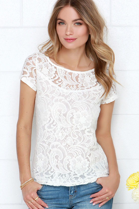 9993f378cd55ed Cute Lace Top - Ivory Top - Short Sleeve Top -  39.00