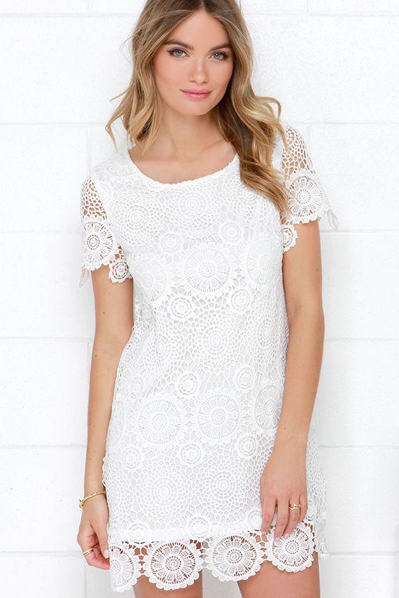 Feelin' Fine Ivory Lace Shift Dress at Lulus.com!