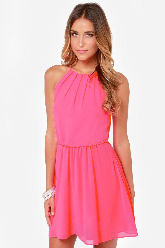 Cute Neon Pink Dress - Sleeveless Dress - $34.00