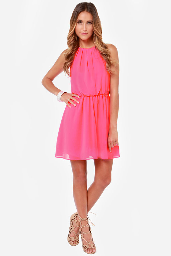 Up to Something Neon Pink Dress at Lulus.com!