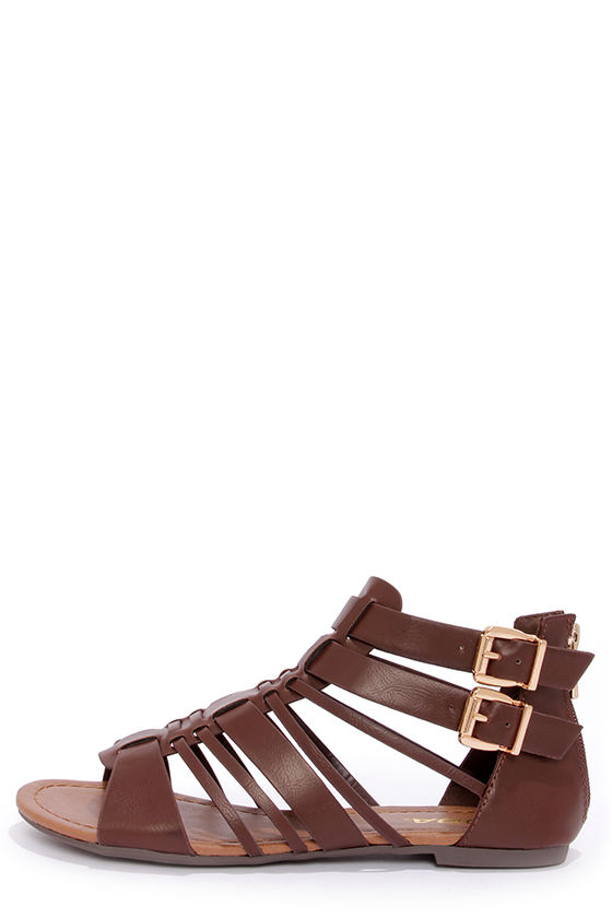 8cb16d952043 Cute Brown Sandals - Gladiator Sandals -  24.00