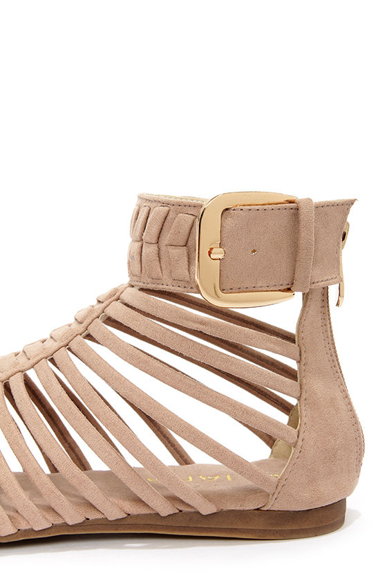 Notic 1 Nude Caged Thong Sandals at Lulus.com!