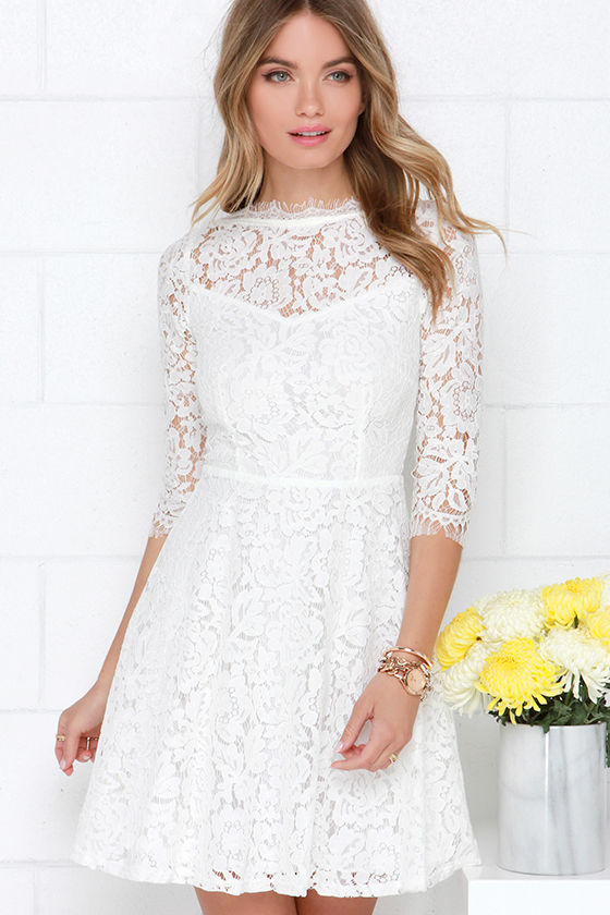 Beautiful Lace Dress - Ivory Dress - Skater Dress - $64.00