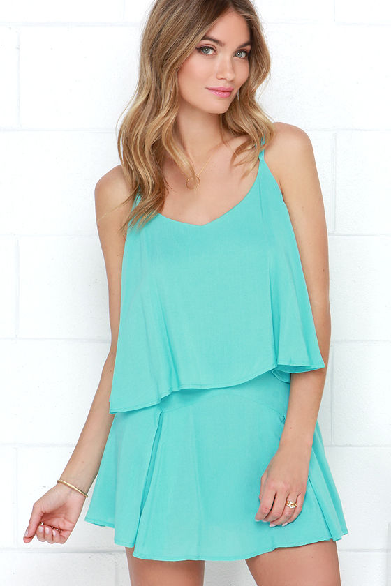 Cute Turquoise Dress - Two-Piece Dress - Lace Dress - $59.00