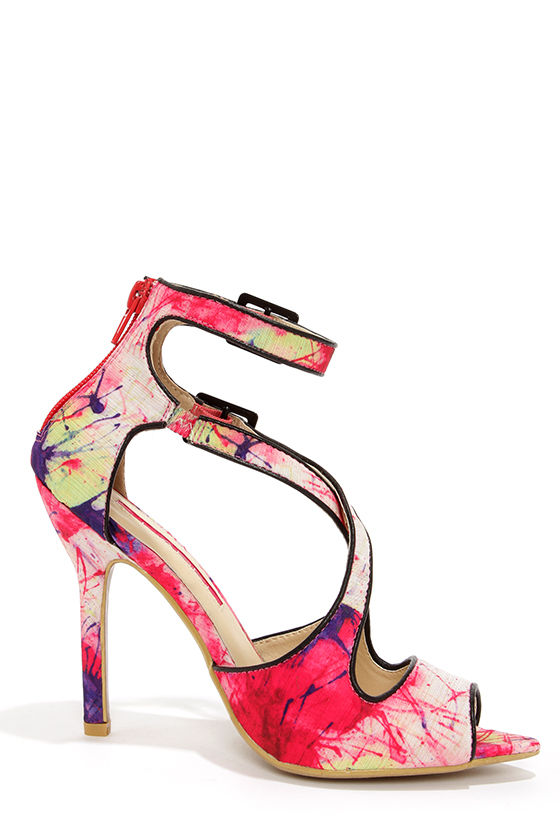 C Label Luxe 28 Fuchsia Splatter Print Ankle Strap Heels at Lulus.com!