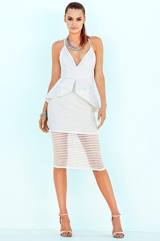 7bfc25160b Ivory Dress - Peplum Dress - Midi Dress - White Dress -  63.00