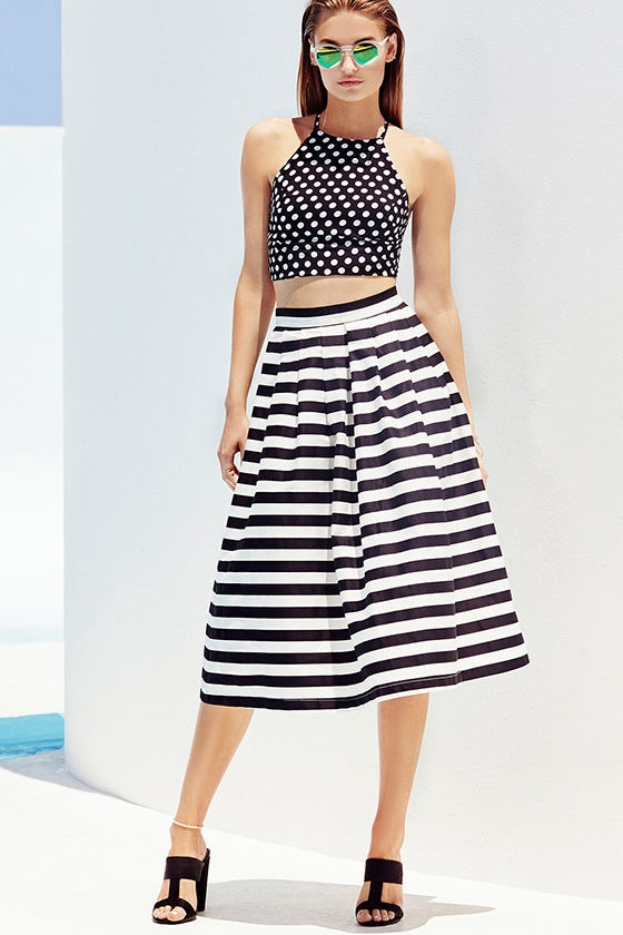 Black and Ivory Striped Skirt - Midi Skirt - High-Waisted Skirt ...