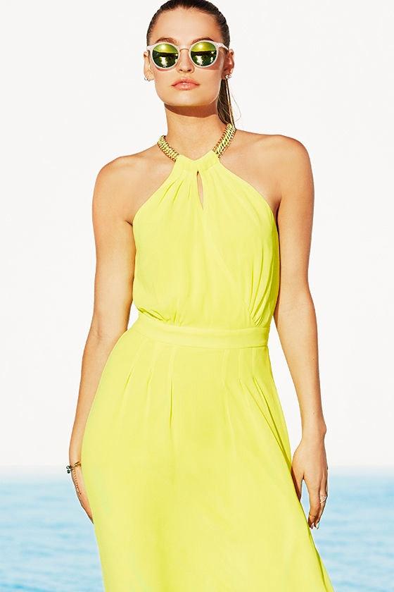 pretty yellow dress yellow maxi necklace dress 4900
