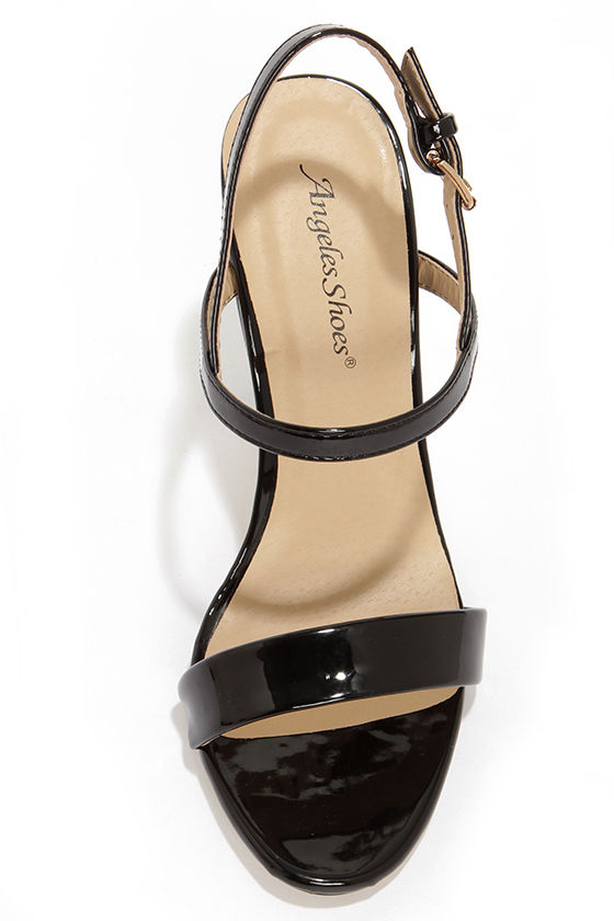 Ginger Black Patent Strappy Dress Sandals at Lulus.com!