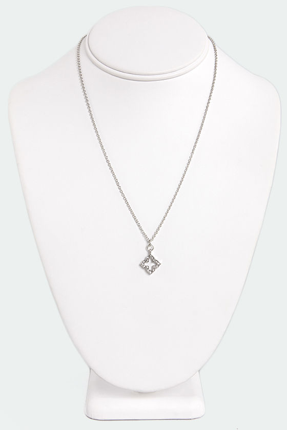 Four Sides to the Story Silver Rhinestone Necklace at Lulus.com!