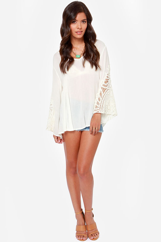 Crochet Double Play Ivory Top at Lulus.com!