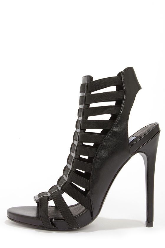 Steve Madden Stretche Black Caged High Heels at Lulus.com!