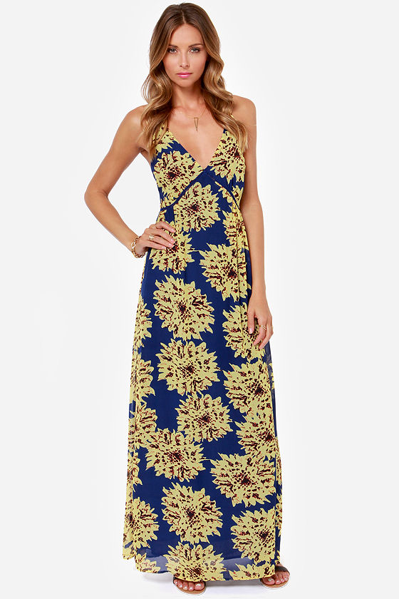 Cute Floral Print Dress - Maxi Dress - Blue Dress - Yellow Dress ...