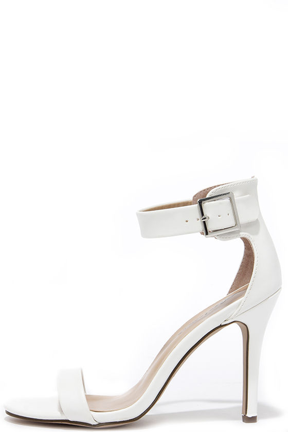 Pretty White Heels - Ankle Strap Heels - Single Strap Heels - $25.00